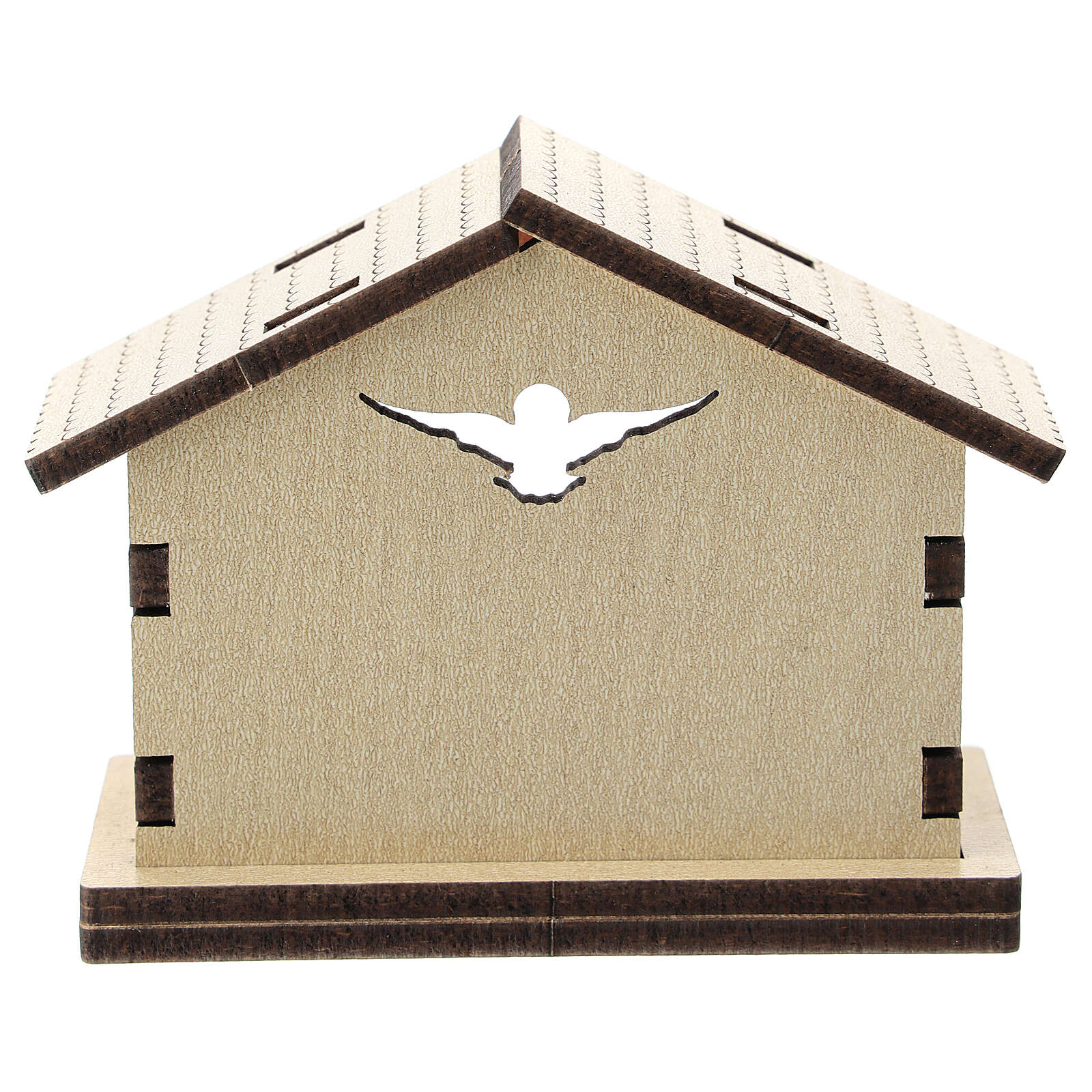 Wood stable with Holy Family background 5 cm 3