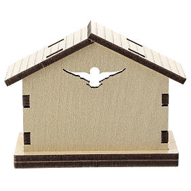 Wood stable with Holy Family background 5 cm s3