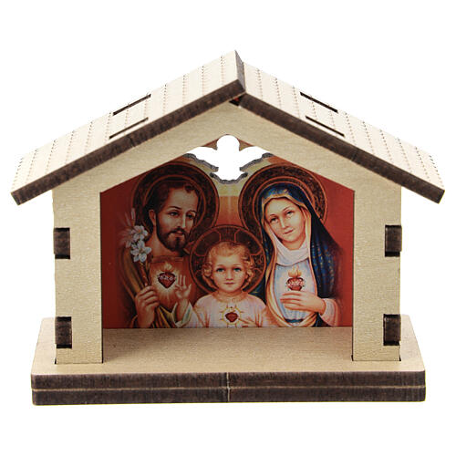 Wood stable with Holy Family background 5 cm 1
