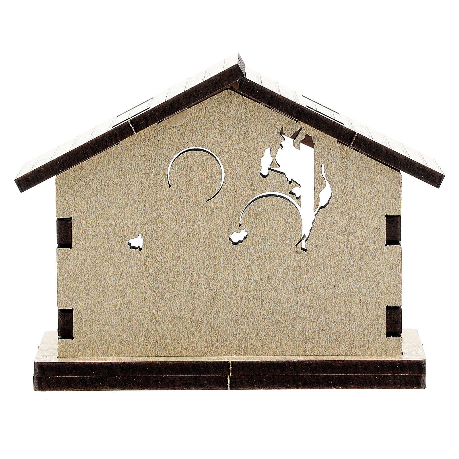 Wooden stable with Holy Family in the background 3