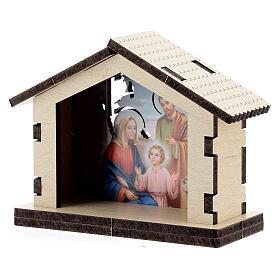 Sacra Famiglia su sfondo di capanna il legno s2