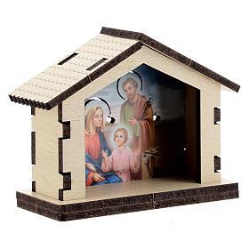 Sacra Famiglia su sfondo di capanna il legno s3
