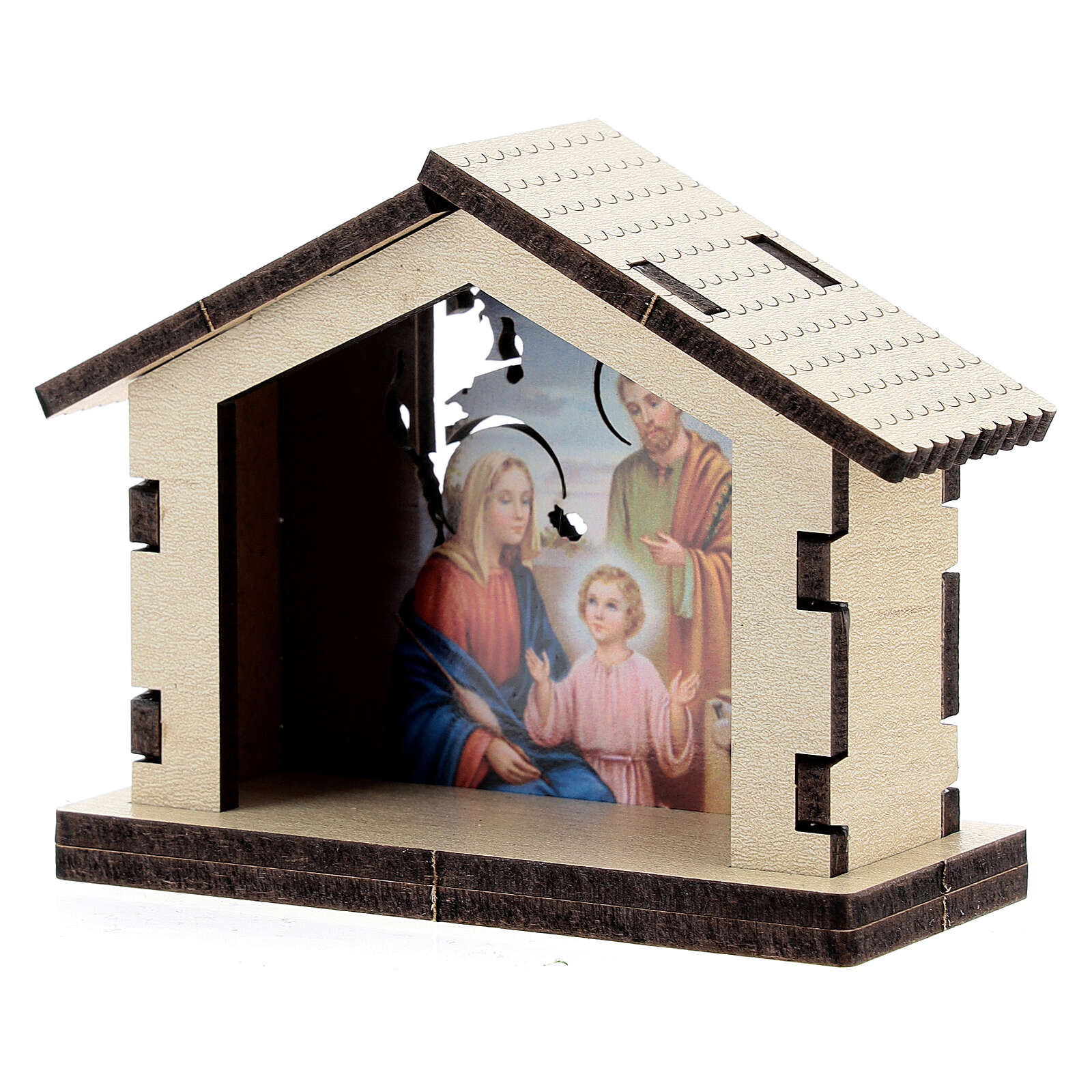 Wooden Nativity stable with Holy Family background 3