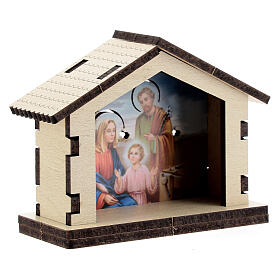 Wooden Nativity stable with Holy Family background s3
