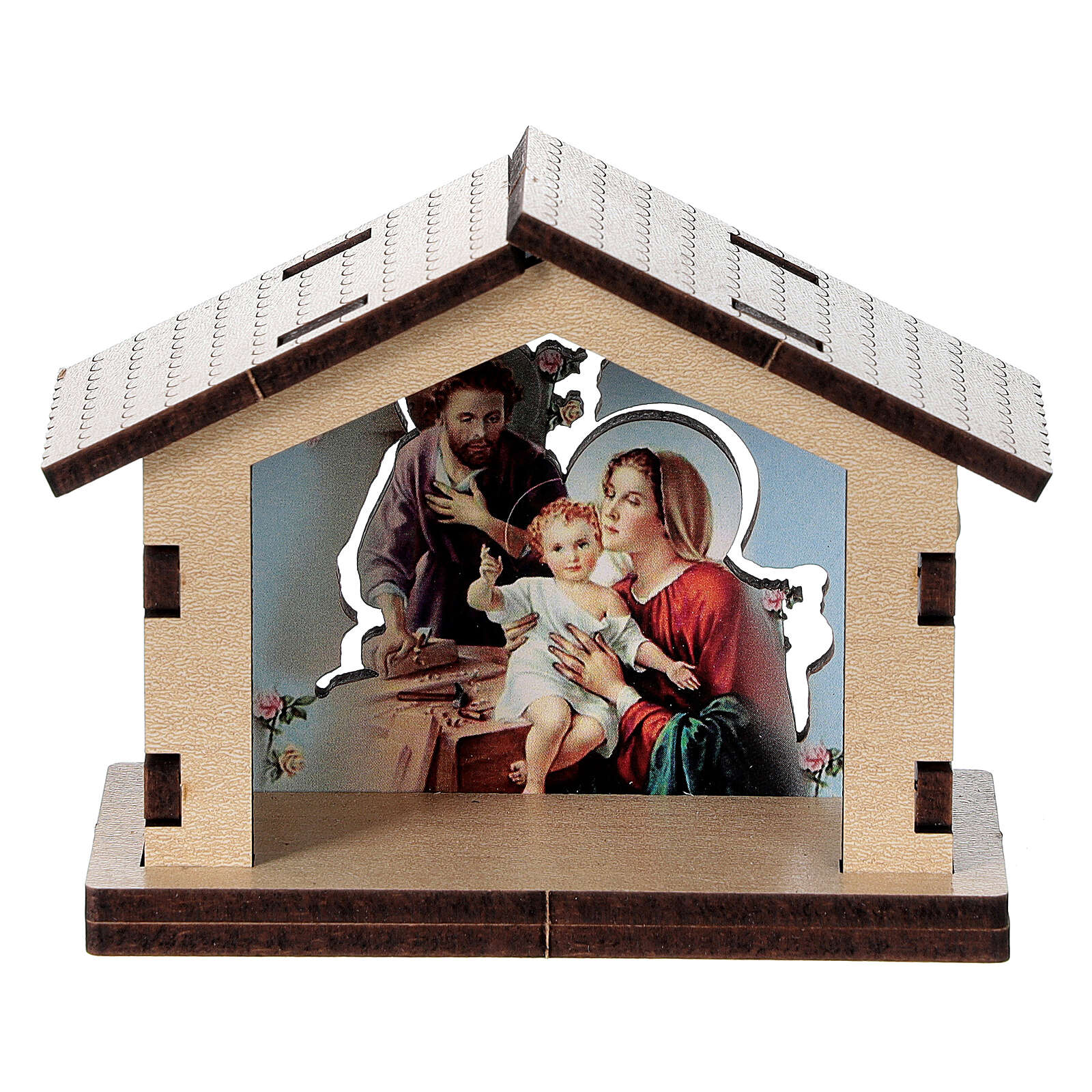 Holy Family image in wooden stable 3