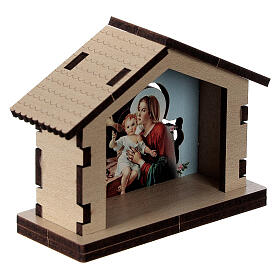 Holy Family image in wooden stable s3