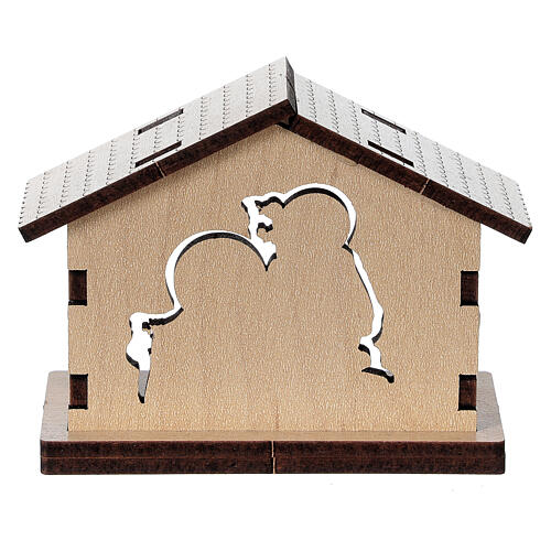 Holy Family image in wooden stable 4