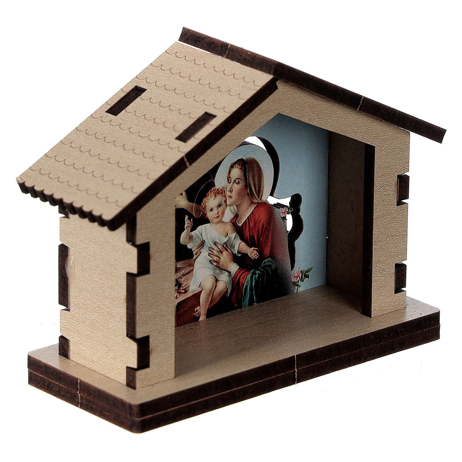 Casetta legno con sfondo scena Sacra Famiglia 3