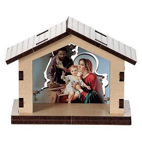 Casetta legno con sfondo scena Sacra Famiglia s1