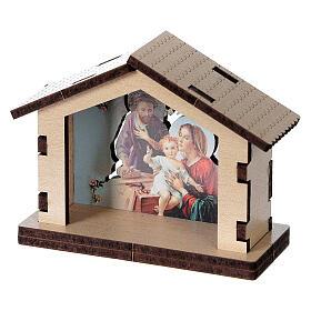 Casetta legno con sfondo scena Sacra Famiglia s2