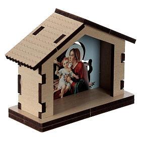 Casetta legno con sfondo scena Sacra Famiglia s3