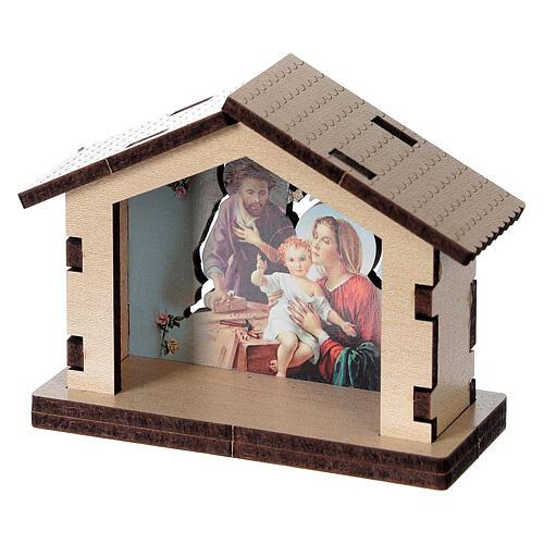 Casetta legno con sfondo scena Sacra Famiglia 2