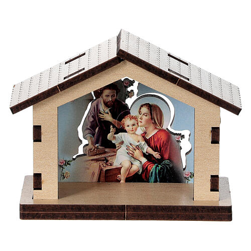 Wooden stable with Holy Family image 1