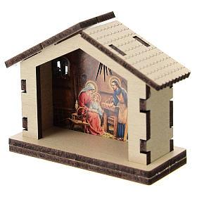 Sacra Famiglia stampata su sfondo casetta legno s2