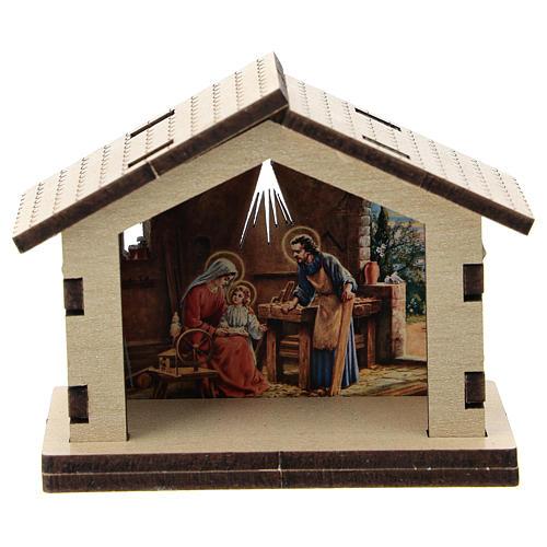 Sacra Famiglia stampata su sfondo casetta legno 1