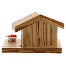 Natività e rosa metallo capanna base legno ulivo 5 cm s4