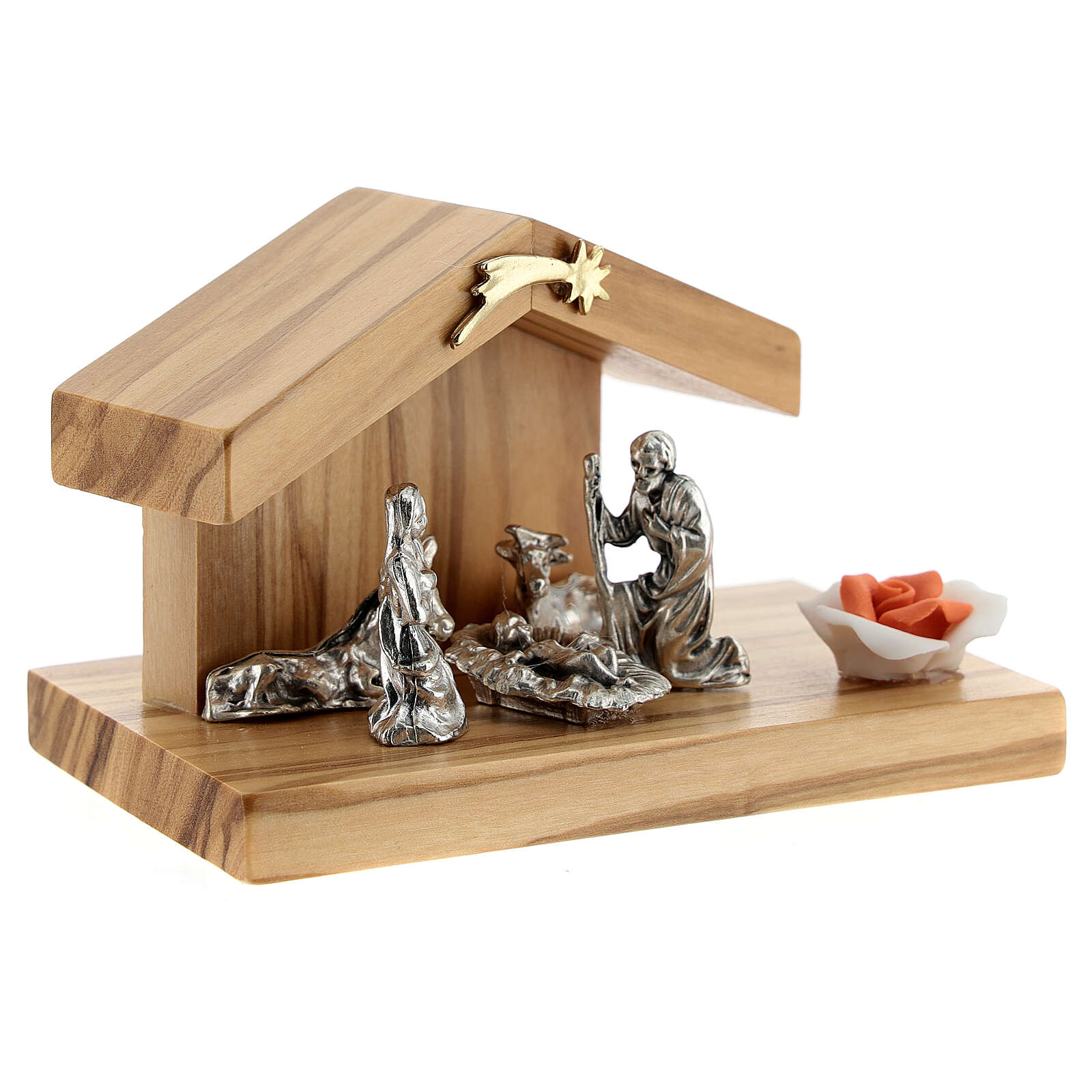 Holy Family with olive wood stable base rose metal 5 cm 3