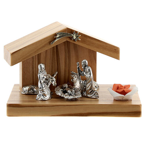 Holy Family with olive wood stable base rose metal 5 cm 1