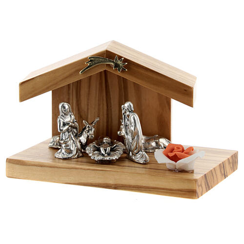 Holy Family with olive wood stable base rose metal 5 cm 2
