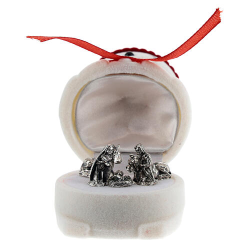 Velvet snowman casket with Nativity 1
