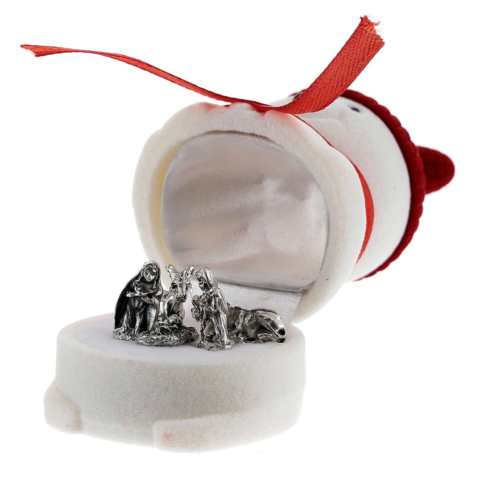 Cofanetto pupazzo di neve velluto con natività 3