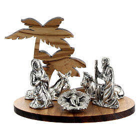 Nativity set in metal with olive wood palm, 5 cm s1