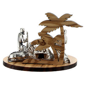 Nativity set in metal with olive wood palm, 5 cm s4