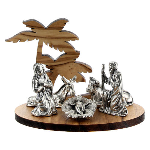 Nativity set in metal with olive wood palm, 5 cm 1