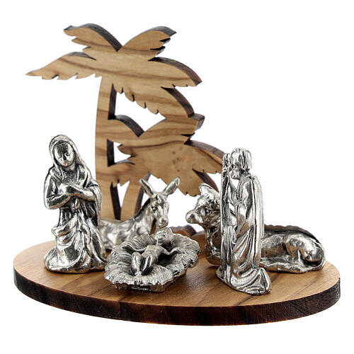 Nativity set in metal with olive wood palm, 5 cm 2