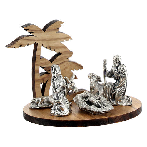 Nativity set in metal with olive wood palm, 5 cm 3