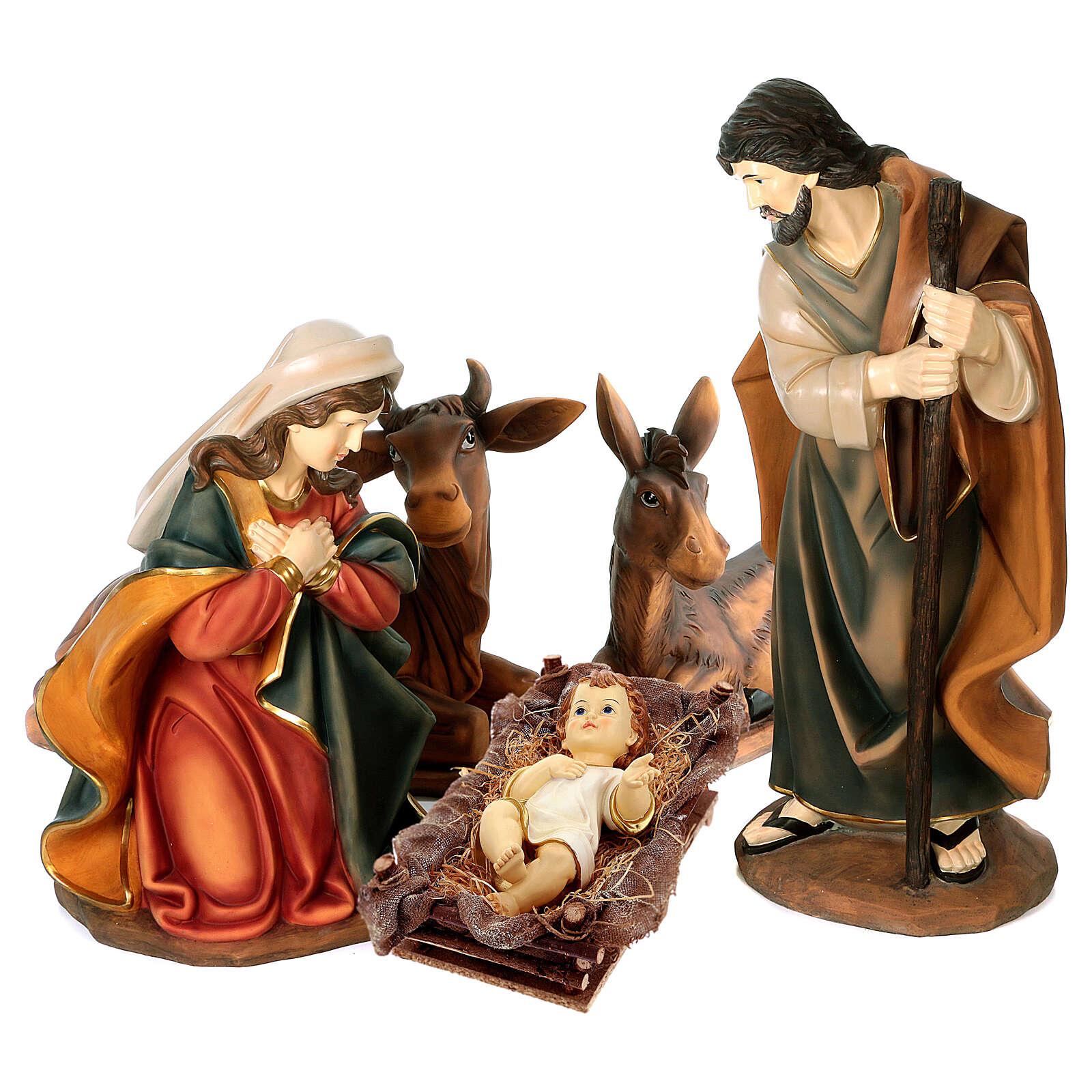 STOCK Scena Narodzin z żywicy malowana, 100 cm, 5 części 3