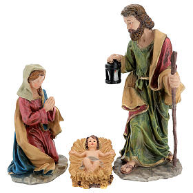 Holy Family nativity set 50 cm colored resin 5 pcs s3