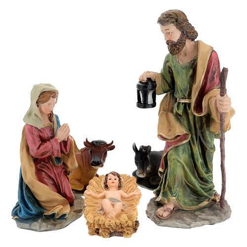 Holy Family nativity set 50 cm colored resin 5 pcs 1