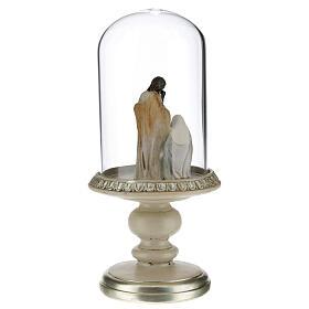 Nativité en résine sous cloche en verre 21 cm s3