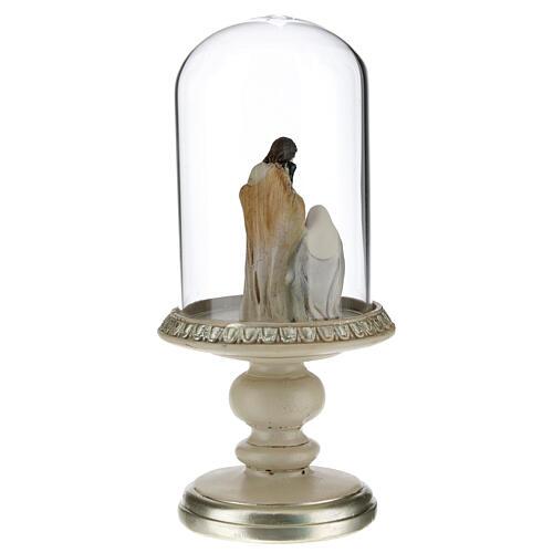 Nativité en résine sous cloche en verre 21 cm 3
