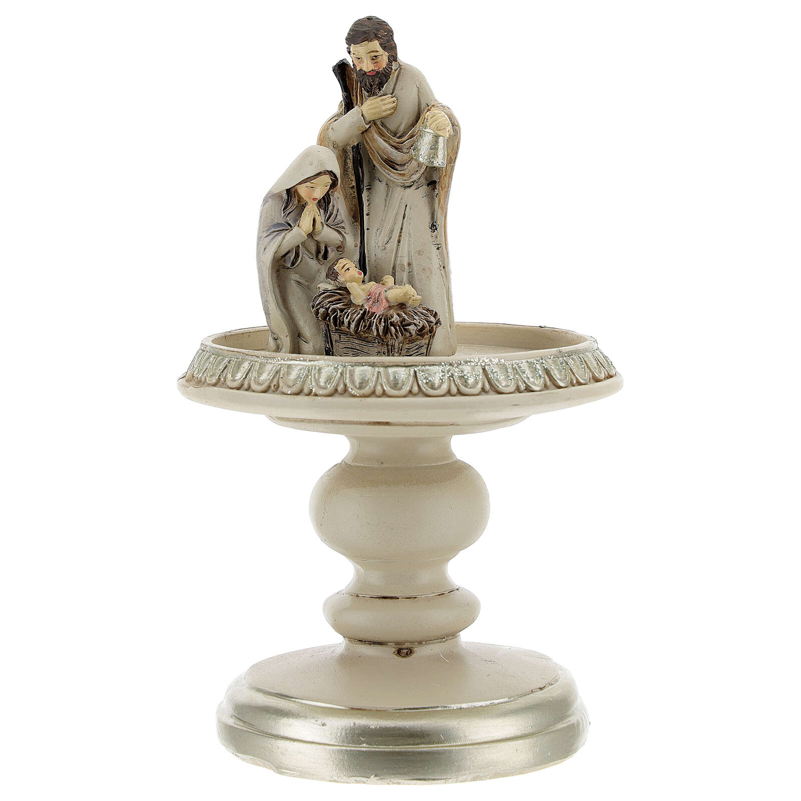 Holy Family statue in glass bell 21 cm 3