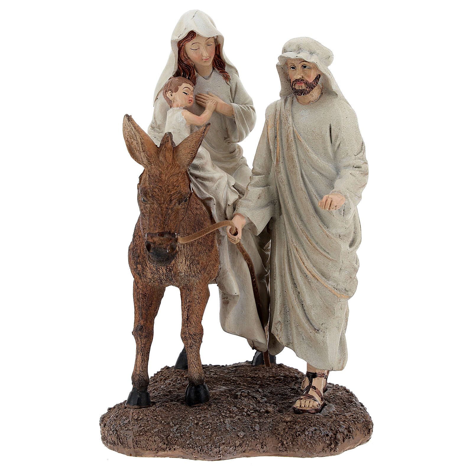 Holy Family with donkey statue in resin 20 cm 3