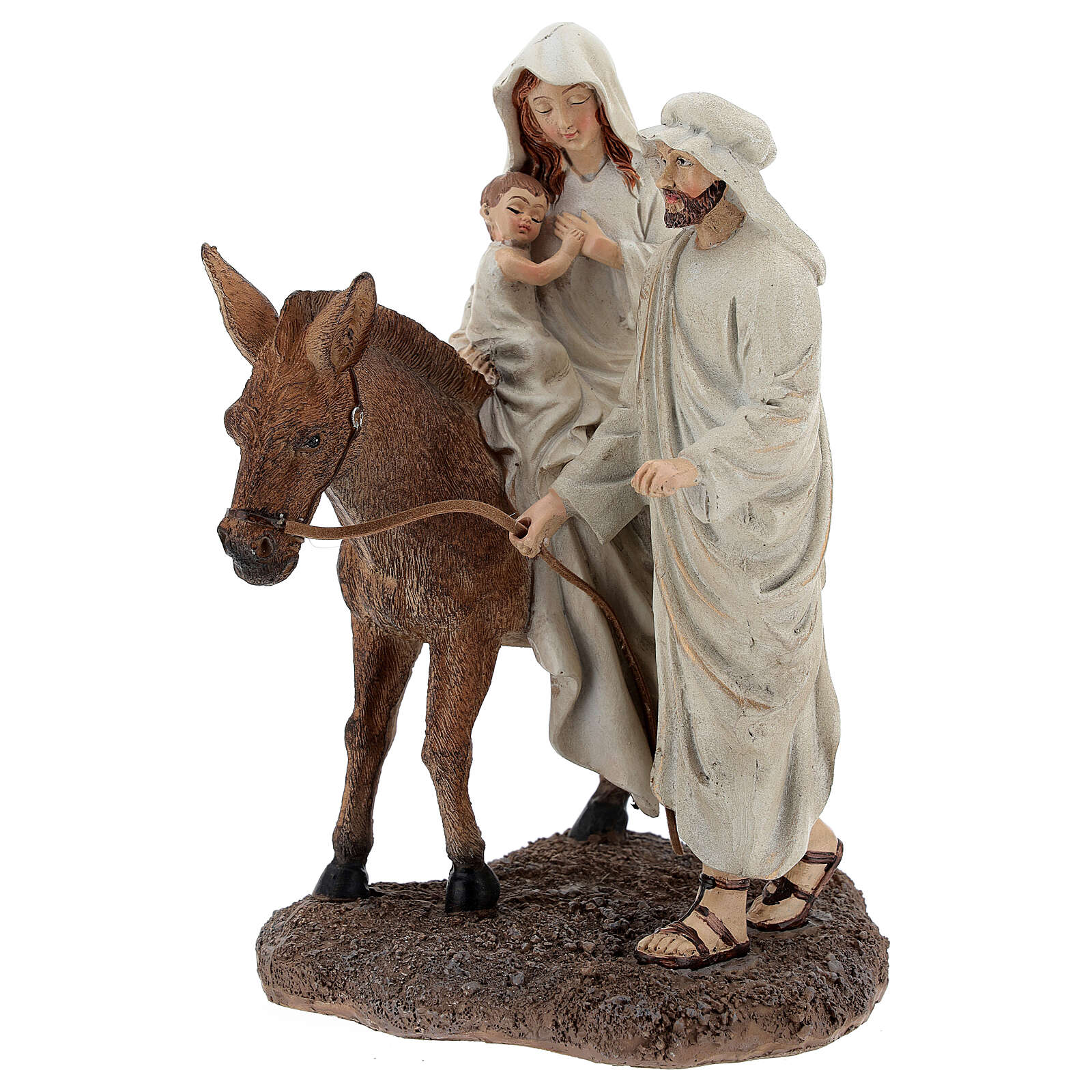 Holy Family statue on donkey in resin 20 cm 3