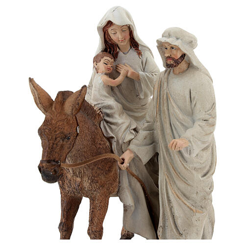 Holy Family statue on donkey in resin 20 cm 2