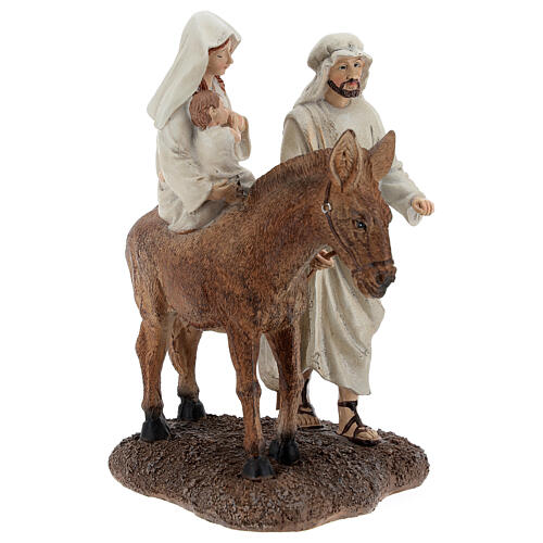 Holy Family statue on donkey in resin 20 cm 4