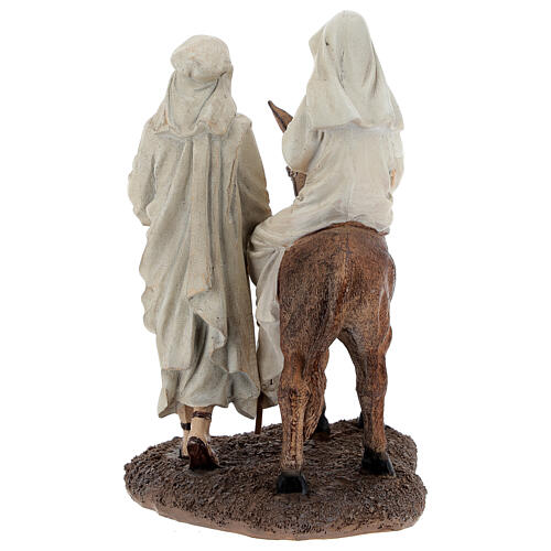 Holy Family statue on donkey in resin 20 cm 5