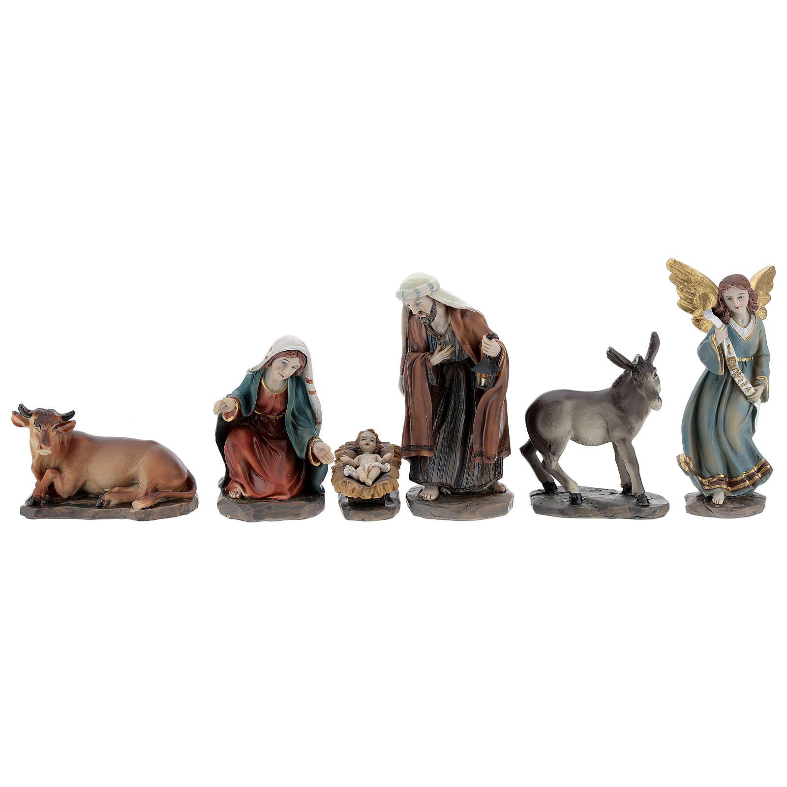 Holy Family set 6 pcs in resin 12 cm 3