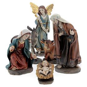Holy Family set 6 pcs in resin 12 cm s1