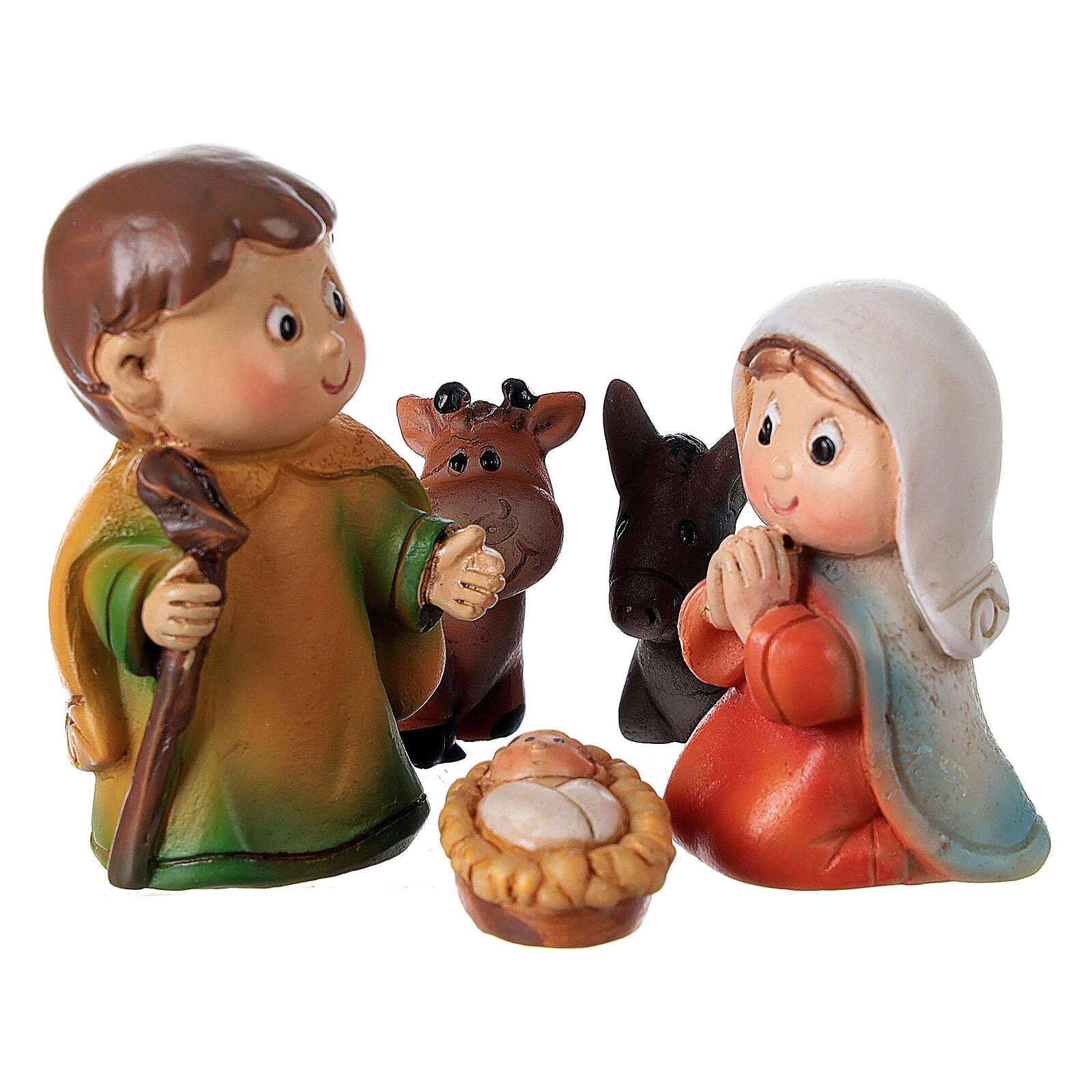 Natividade de Jesus 5 figuras resina Presépio para Criança 4 cm 3
