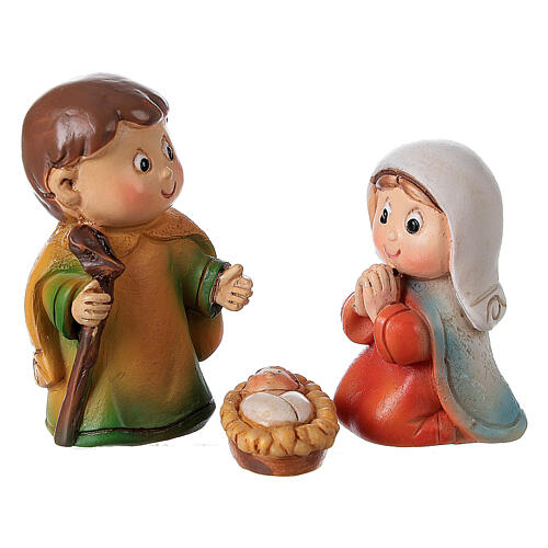 Nativity set for kids 5 pcs line resin 4 cm 1