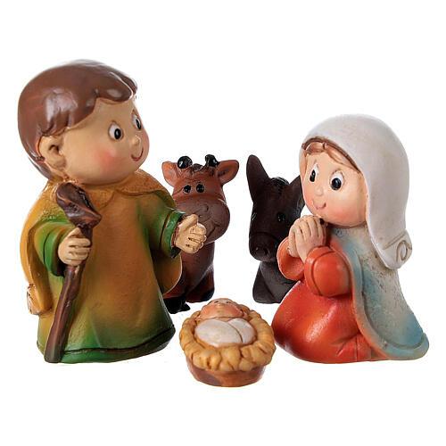 Nativity set for kids 5 pcs line resin 4 cm 2