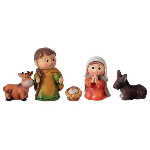 Nativity set for kids 5 pcs line resin 4 cm 4