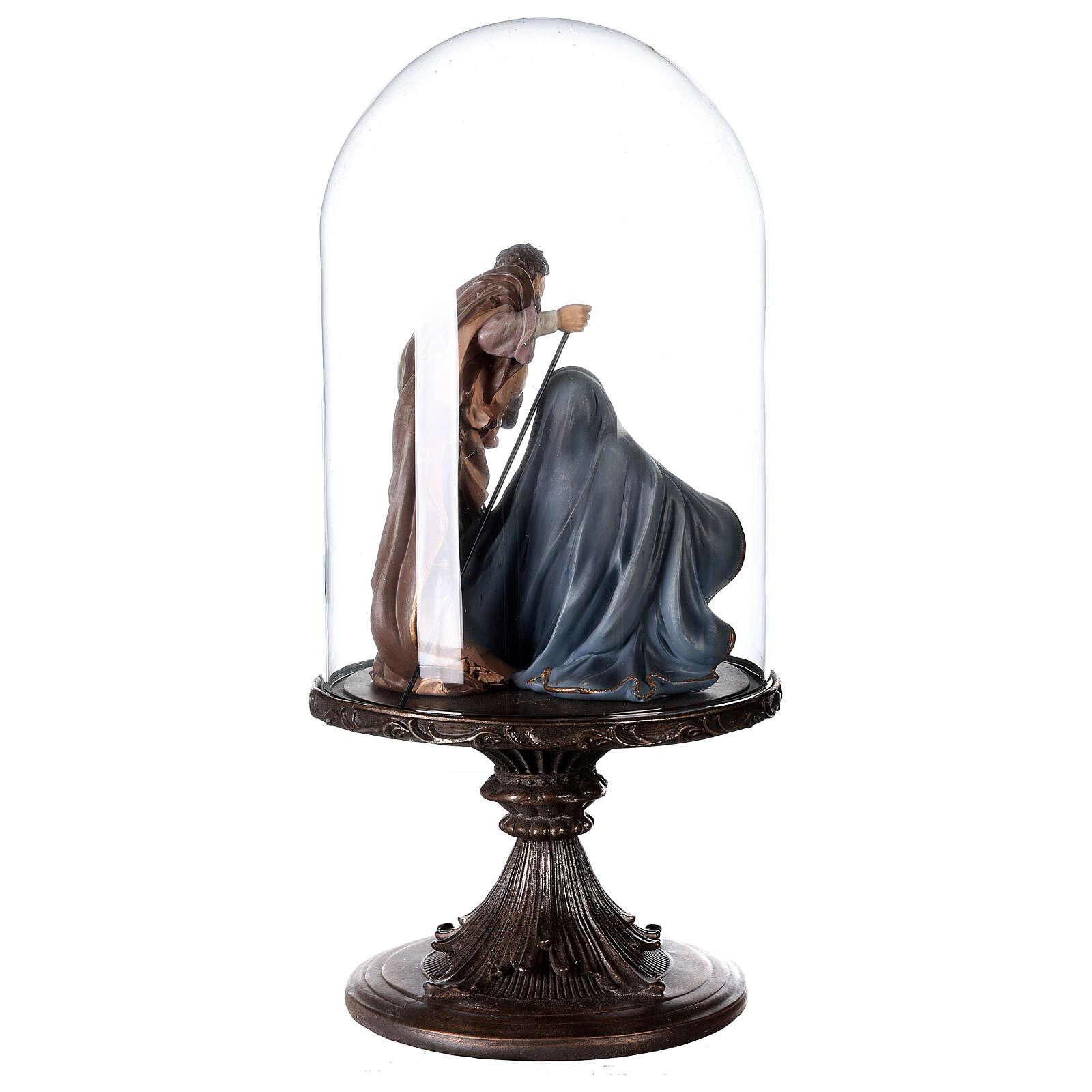 Natività resina 20 cm in campana di vetro 45 cm 3