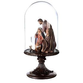 Natività resina 20 cm in campana di vetro 45 cm s3