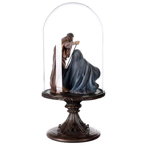 Natività resina 20 cm in campana di vetro 45 cm 5